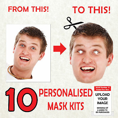 10 Personalised Custom Face Mask Kits Send A Pic & We Give All You Need To Diy!