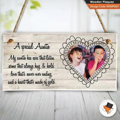 Personalised Photo Auntie Gift from Niece Nephew Heart Wooden Plaque 10x20cm I