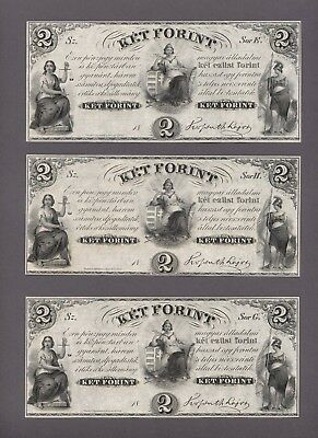 HUNGARY 2 Forint 1852 Pick # 142r1 3 Pcs. w/ diff. serial letters