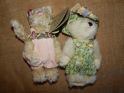 Two Vintage Boyds Bears Cat & Bear New  #013