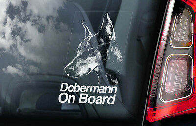 Dobermann on Board - Car Window Sticker - Doberman Pinscher K9 Sign Decal - V01