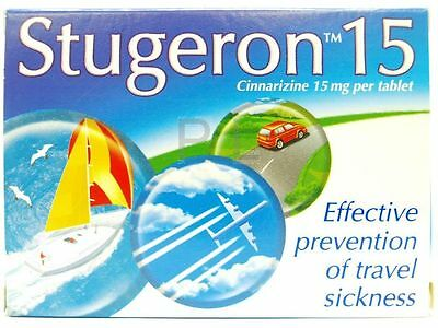 *** STUGERON TABLETS 1 PACK OF 15 (Travel sickness, nausea) ***