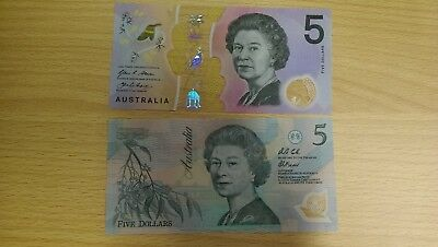 Australia banknotes, first (1992) and last (2016) polymer issue, UNC