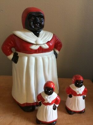 👀 Adorable Aunt Jemima Black Americana Cookie Jar And Salt Pepper Shakers
