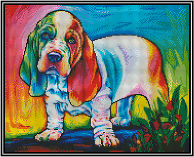 Cross Stitch POP ART COLORFUL BASSET  HOUND DOG - COMPLETE KIT No.16-151