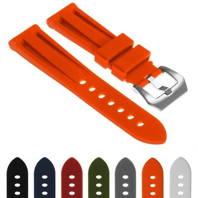 StrapsCo Heavy Duty Rubber Silicone Watch Strap Band w/ Brushed Pre-V Buckle