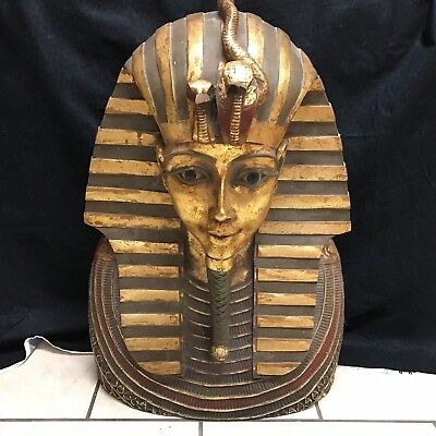 "Egyptian Tutankhamen Golden Mask King Statue 26"" tall Statue Head Tut (GMG)"