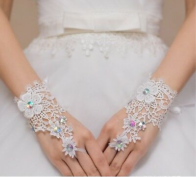 a pair of ivory rainbow beaded wedding lace gloves bridal floral lace gloves