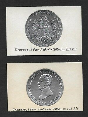 Uruguay Coin Card by Greiling Germany 1929-1917 1 Peso Silver THIS IS NOT A COIN