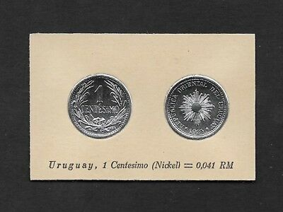 Uruguay Coin Card by Greiling Germany 1929 - 1924 1c Nickel THIS IS NOT A COIN