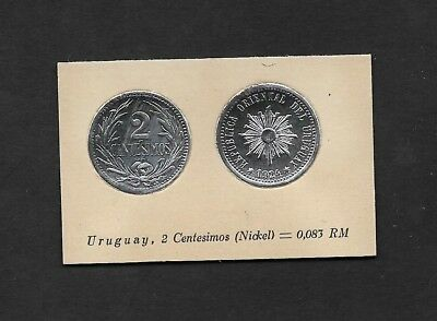 Uruguay Coin Card by Greiling Germany 1929 - 1924 2c Nickel THIS IS NOT A COIN