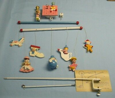 """VINTAGE . 70's . Musical Baby Crib Mobile . """"Mother Goose""""  # 13185"""