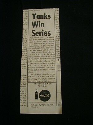 vintage 1962 coca cola newspaper ad yankees win world series paper clipping