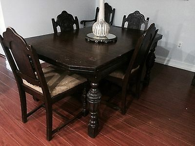 Rockford Republic Antique Dining Room Table with Buffet  and Chairs