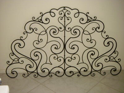 Wrought Iron TRANSOM WINDOW INSERT or headboard or gate topper or architectural
