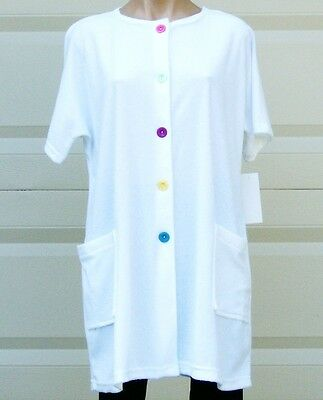 White Cotton/Poly Short Sleeve Terry Cloth Cover Up/Robe w/Pockets Plus Size 2X