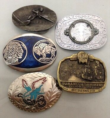 LOT OF 5 Metal W/ Gems Men's Belt Buckle Various Collectibles & Designs