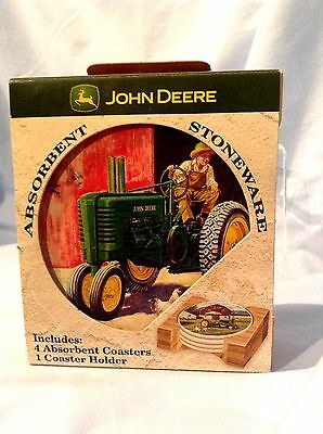 """John Deere Coasters by Nature Stone 4"""" Set/4 Cork Backed with Wood Holder $16.99"""