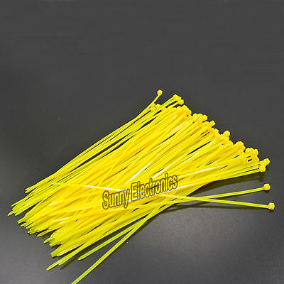 "100 Yellow  8 Inch 40LBS Nylon 8"" Self-locking Plastic Cable Ties Wire Zip Tie"