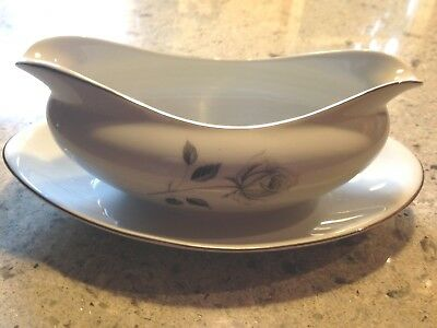 Royal Song Fine China Midnight Rose  Gravy Boat With Plate  Beautiful  Japan