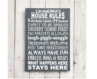 Grandma's House Rules | Large Wooden Sign | What happens at grandmas Stays at