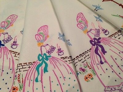 Vintage Hand Embroidered Linen Tablecloth CRINOLINE LADIES BIRDS and FLOWERS