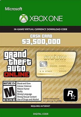 XBOX ONE GTA 5 online Cash Card Code 'Walhai' deutsch 3.500.000 $ *Blitzversand*