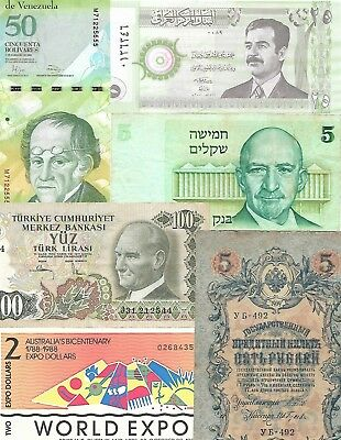 Lot of 71 World Banknotes, 1792-2000  Circ/UNC  Nice! Look!