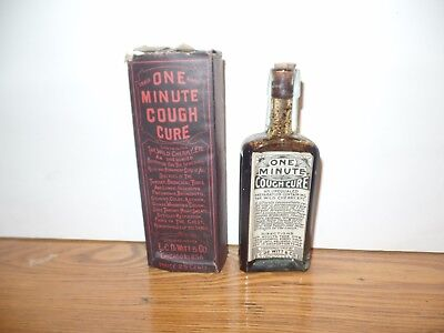 One Minute Cough Cure- Foley's Bladder Cure -Box -Contents- Label-Embossed