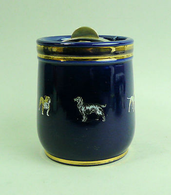Antique Royal Doulton Art Pottery Tobacco Jar - Dog Design C.1910