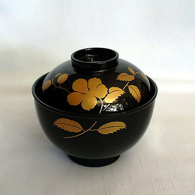 Lackschale mit Deckel/soup/reis bowl with lid, lacquer on wood, Japan