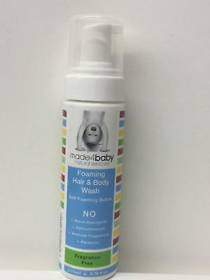 Made4baby Organic Skincare Foaming & Body Wash Fragrance Free- 200 ml/6.76fl,oz
