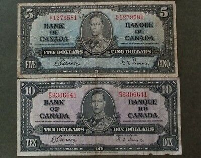 Canada 1937 Bank of Canada $5 & $10 two pcs lot SN6641