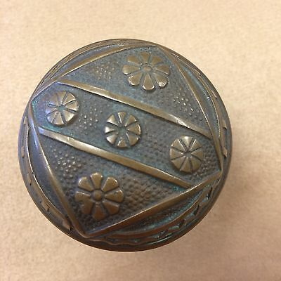 "Antique Brass Bronze Door Knob Eastlake Victorian 2 ¼"" Geometric Flowers"