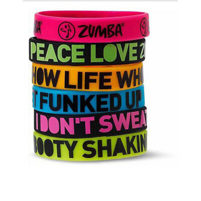Zumba Dance Fitness Express Yourself Rubber Bracelets - 6 Pack! Brand New w/Tags