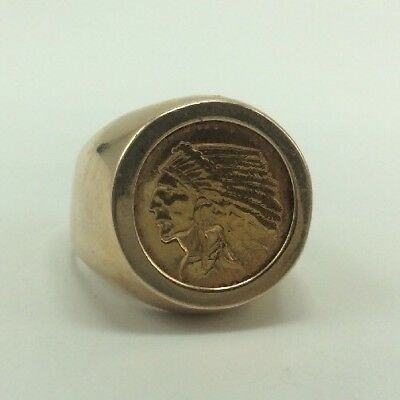 1930's $2.50 Indian Head Gold Coin Set In 14k Ring, Size 10, 19.4g
