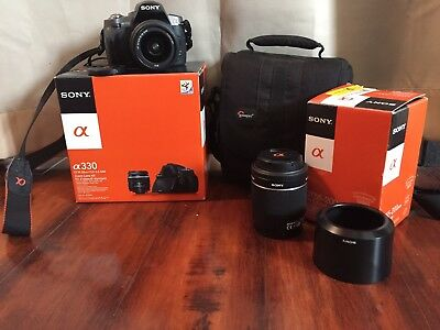 Sony Alpha 330 DT18-55m F3.5-5.6 SAM Cam w/ DT55-200mm Lens and Bag