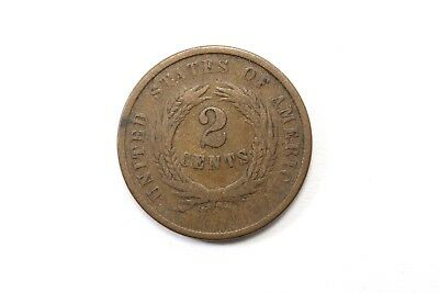 One  United States 1864 Two Cent Coin Average Circulated Condition