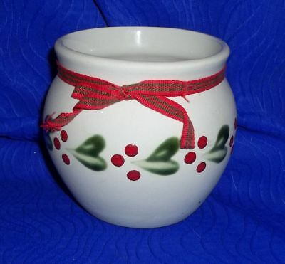 Gabriel Sweden Stengods Cream Pottery Pot with Red and Green Trim with Ribbon