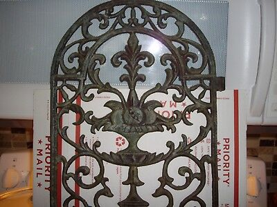 Architectural Ornate Cast Iron Tombstone Stove Vent Door---Excellent Condition