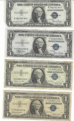 Lot Of 14 $1 Blue Seal Silver Certificates Various Years $14 Face Value