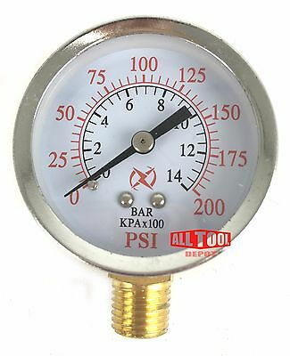 "Air Pressure Gauge 2"" Side Mount 1/4"" NPT 2"" Dial - 0 to 200 PSI"