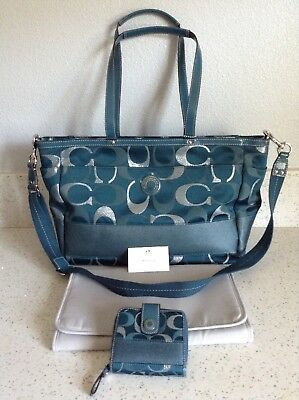 Coach NWOT Multifunction Tote Diaper Baby Bag Signature Weekend Blue w/ Wallet