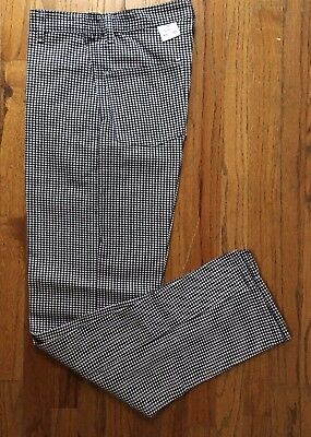 Chef Designs Cook Baker White Black Check Pants Elastic Side - Zipper & Snap NWT