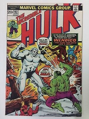 INCREDIBLE HULK #162, (1973), 1st WENDIGO, Very Fine + Shape, Marvel comics