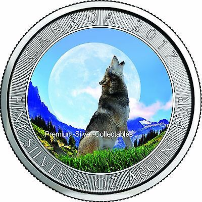 2017 Canada Grey Wolf Series Coin 3 of 4 Summer 3/4 Ounce Pure Silver Colorized!