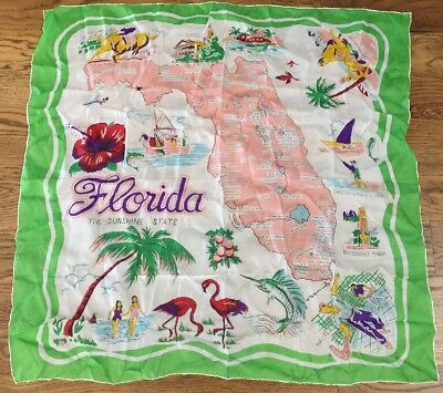 "Vintage Florida State Souvenir scarf 30"" square vivid Colorful Japan rayon/silk"