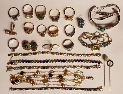 sterling silver scrap lot pins earrings necklace ring 190 grams scrap or resell