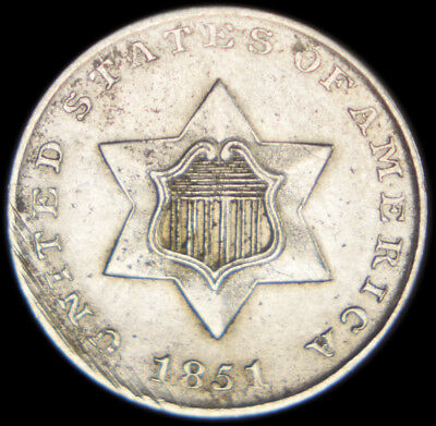 1851 Silver Three Cent Piece, No Reserve! Scrapes on obverse.