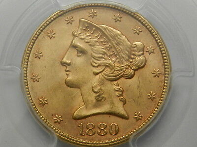1880 $5 Half Eagle Liberty Head Gold Coin Pcgs Ms64+